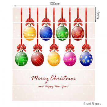 Colorful Christmas Balls Pattern Decorative Stair Stickers - COLORFUL 6PCS:39*7 INCH( NO FRAME )