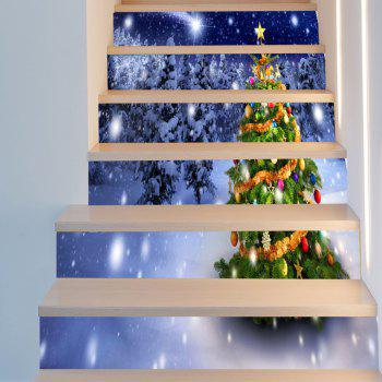 Snow Colored Christmas Tree Pattern Decorative Stair Stickers - COLORFUL 6PCS:39*7 INCH( NO FRAME )