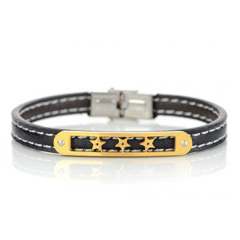 Artificial Leather Stainless Steel Star Bracelet - GOLDEN
