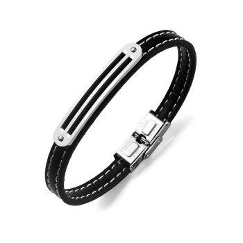 Stainless Steel PU Leather Simple Bracelet - SILVER SILVER