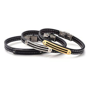 Stainless Steel PU Leather Simple Bracelet - SILVER