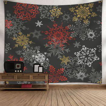 Wall Hanging Christmas Snowflake Printed Decorative Tapestry - DEEP GRAY W91 INCH * L71 INCH