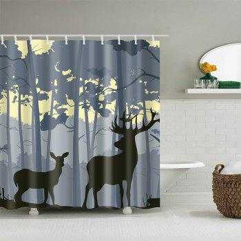 Forest Deers Print Waterproof Bathroom Shower Curtain - COLORMIX W59 INCH * L71 INCH