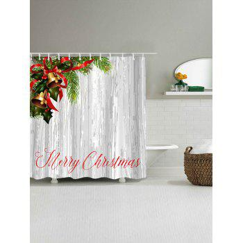 Merry Christmas Bells Print Waterproof Polyester Shower Curtain - COLORMIX W71 INCH * L71 INCH