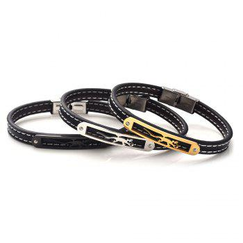 Stainless Steel Artificial Leather Animal Bracelet - BLACK