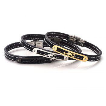 Artificial Leather Stainless Steel Scorpion Bracelet - GOLDEN