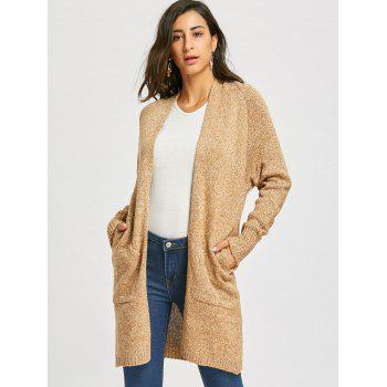 Raglan Sleeve Open Front Cardigan - CAMEL ONE SIZE