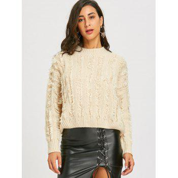 Fringed Crew Neck Drop Shoulder Sweater - OFF WHITE ONE SIZE
