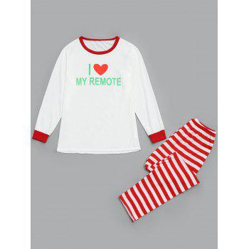Stripe LOVE Matching Family Christmas Pajamas Set - RED RED