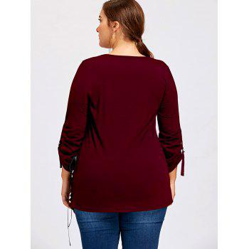 Plus Size Lace Up Ripped Tunic Top - WINE RED 5XL
