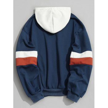 Pullover Contrast Color Hoodie - BLUE M