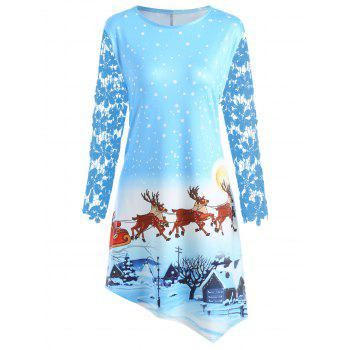 Christmas Night Scene Printed Plus Size Dress - CLOUDY CLOUDY