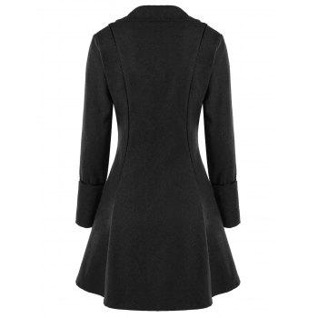 Lace Panel Button Up Tailcoat - BLACK GREY M
