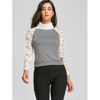Stylish Long Sleeve Turtleneck Knitting Spliced Women's T-Shirt - GRAY S