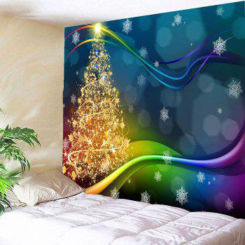 Colored Lines Christmas Tree Printed Waterproof Wall Art Tapestry - COLORFUL W59 INCH * L59 INCH