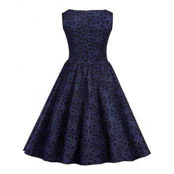 Vintage Floral Pin Up Pleated Dress - PURPLISH BLUE S