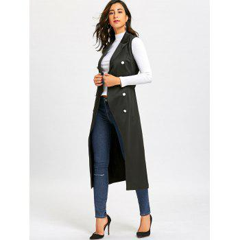 Double Breasted Longline Waistcoat with Tie Belt - BLACK M