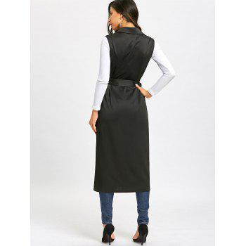 Double Breasted Longline Waistcoat with Tie Belt - BLACK L