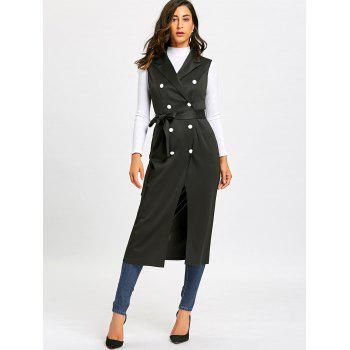 Double Breasted Longline Waistcoat with Tie Belt - BLACK BLACK