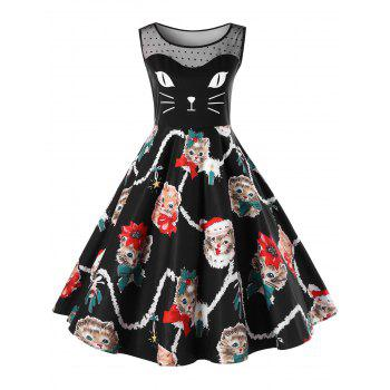 Christmas Plus Size Kitten Print Swing Dress