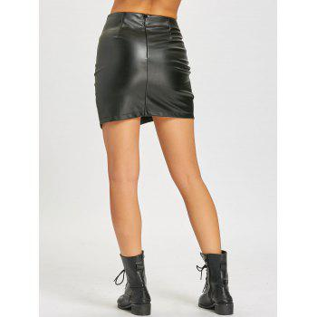 Mini Faux Leather Lattice Skirt - BLACK M