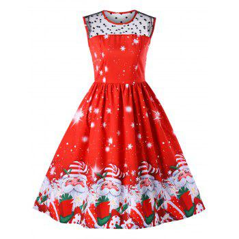 Christmas Santa Claus Print Mesh Insert Dress