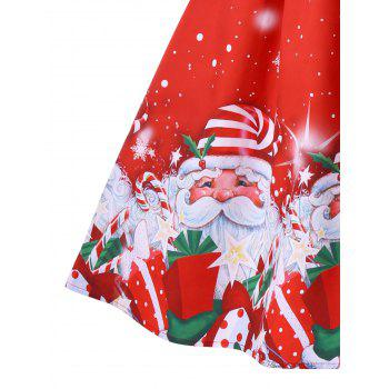 Noël Santa Claus Print Mesh Insert Dress - Rouge XL