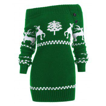 Off The Shoulder Reindeer Knit Tunic Sweater - GREEN XL