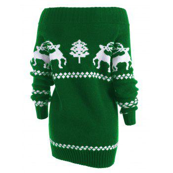 Off The Shoulder Reindeer Knit Tunic Sweater - GREEN L