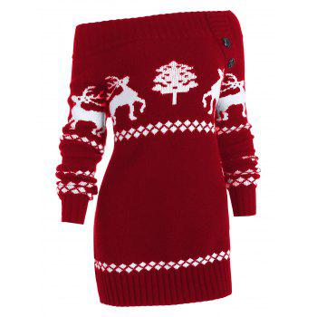 Off The Shoulder Reindeer Knit Tunic Sweater - RED 2XL