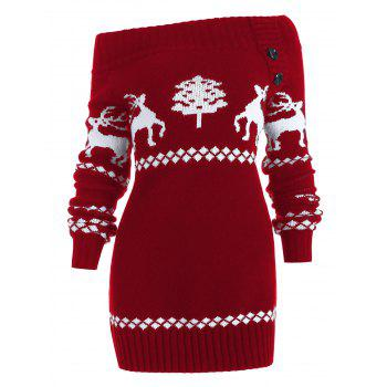 Off The Shoulder Reindeer Knit Tunic Sweater - RED L