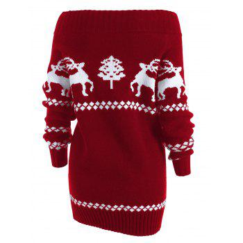 Off The Shoulder Reindeer Knit Tunic Sweater - RED M