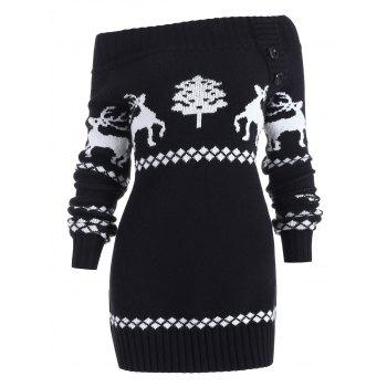 Off The Shoulder Reindeer Knit Tunic Sweater - BLACK 2XL