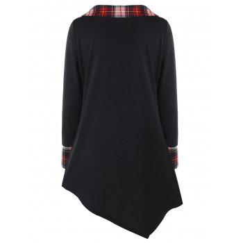 Plus Size Plaid Trim Asymmetrical Top - BLACK 4XL