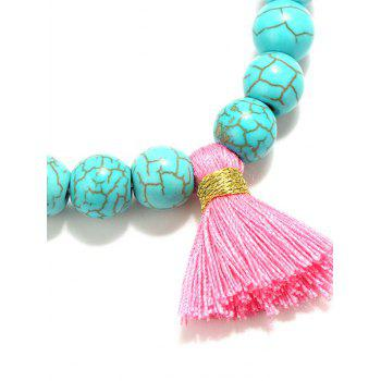 Beaded Tassel Stretch Bracelets - TURQUOISE BLUE