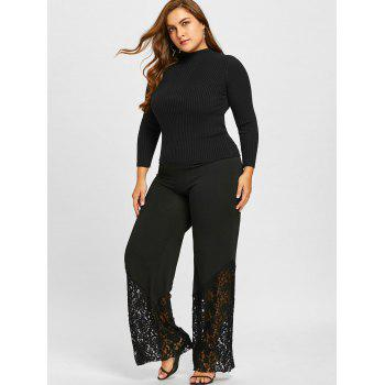 Plus Size Lace Panel Palazzo Pants - BLACK 2XL