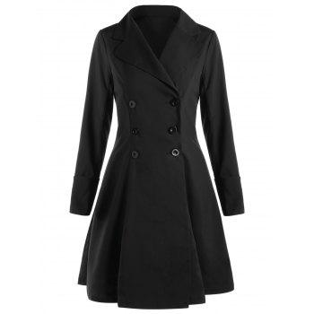 Double Breasted Lace Up Flare Trench Coat - BLACK 2XL