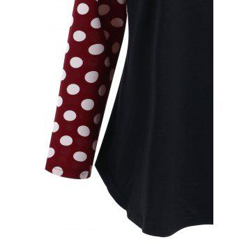 Plus Size Polka Dot Raglan Sleeve Top - RED/BLACK 5XL
