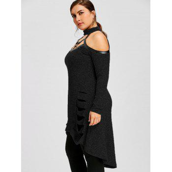 Plus Size Open Shoulder Ripped Tunic Top - BLACK 5XL