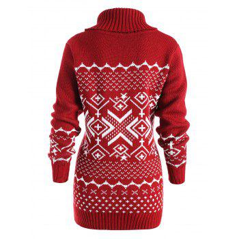 Geometric Pattern Tunic Turtleneck Sweater - RED M