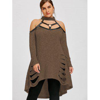 Plus Size Open Shoulder Ripped Tunic Top - COFFEE XL