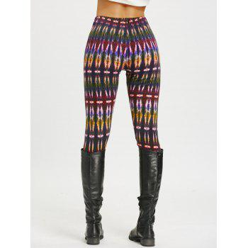 Multicolor Bamboo Printed High Waist Workout Leggings - COLORMIX L