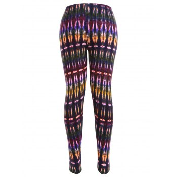 Multicolor Bamboo Printed High Waist Workout Leggings - COLORMIX XL