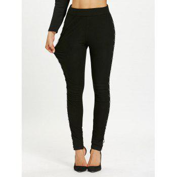 Metal Hoop Decorated Elastic Waist Pencil Pants - BLACK L