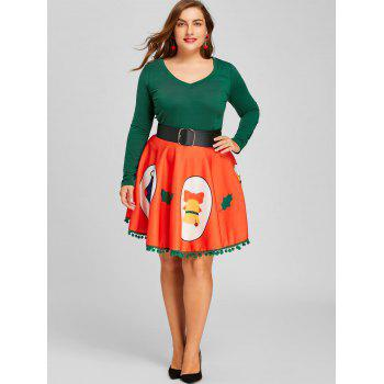 Christmas Plus Size Print Pom Pom Trimmed Skirt - RED XL