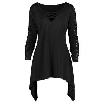 Plus Size Criss Cross Long Sleeve Sharkbite T-shirt - BLACK 3XL