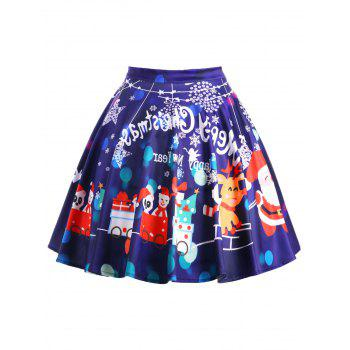 Merry Christmas Plus Size Graphic Swing Skirt - DEEP PURPLE XL