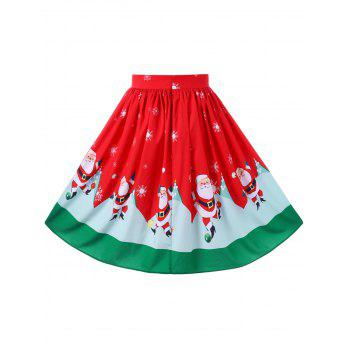 Christmas Plus Size Swing Midi Skirt - RED XL