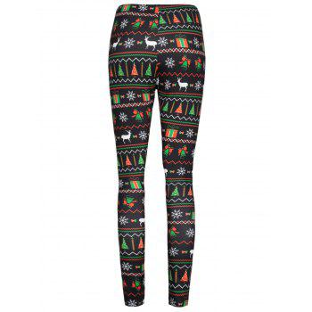 Christmas Ornaments Printed Elastic Waist Workout Leggings - COLORMIX S