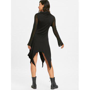 Convertible Handkerchief Midi Dress - BLACK M